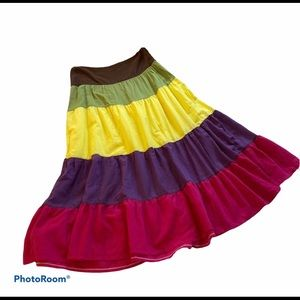 Y London 90's Inspired Color Block Tiered Skirt